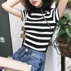 Short-sleeve Zipped Striped Knit Top