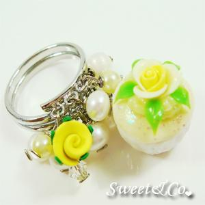 Sweet Mini Yellow Glitter Cupcake Floral Ring