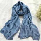 Fringed Plaid Linen Neck Scarf