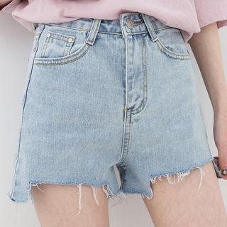 Ripped-hem Denim Shorts