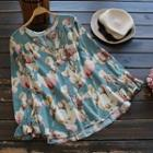 Long-sleeved Floral Printed Loose-fit Blouse