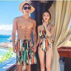 Couple Matching Printed Cutout Swimsuit / Swim Shorts