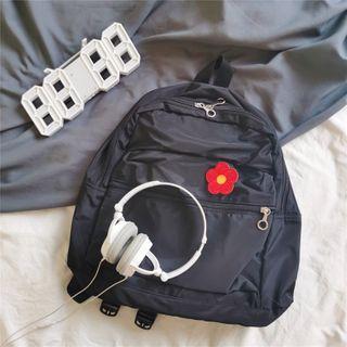 Plain Backpack Red Floral - Black - One Size