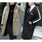 Contrast Trim Hooded Long Jacket