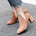 Fabric Bow-accent Block Heel Ankle Boots