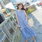 Pocket Front Checked Sleeveless Dress