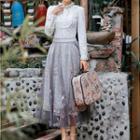 Ruffled Blouse / Lace Maxi Skirt