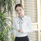 Pintuck Frilled Tie-neck Blouse