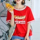 Hot Dog Print Short-sleeve Top