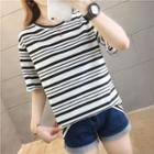 Contrast Striped Short-sleeve T-shirt