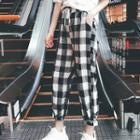 Checked Drawstring Cropped Pants