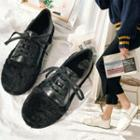 Furry-trim Lace-up Sneakers