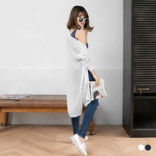 Buttoned-front Long Cardigan