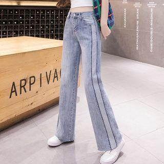 High-waist Panel Wide-leg Jeans