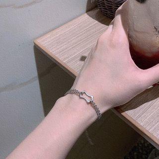 Geometric Stainless Steel Bracelet Silver - 16cm