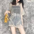 Set: Spaghetti Strap Lettering Top + Elbow-sleeve See-through Top