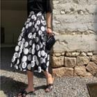 Pleated Printed A-line Skirt