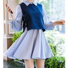 Set: Long-sleeve Dress + Vest