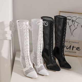 High Heel Lace-up Mesh Tall Boots