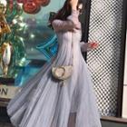 Long Sleeve Mesh A-line Dress