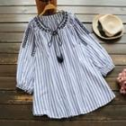 Embroidered Striped Long-sleeve Blouse