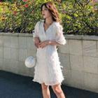 Feather Elbow-sleeve A-line Chiffon Dress