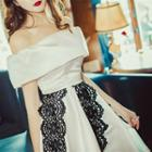 Off-shouder Lace Panel Dress