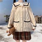 Sailor-collar Cable Knit Cardigan
