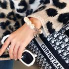 Faux Pearl Bracelet White & Silver - One Size
