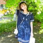 Short-sleeve Embroidered Sailor Dress