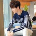 Long-sleeve Fleece-lined Striped Top