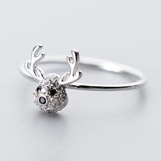925 Sterling Silver Rhinestone Deer Ring