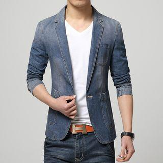 Denim One-button Blazer