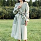 Two-tone Trench Coat With Sash