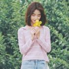 Stripe Long-sleeve Hooded Knit Sweater