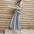 Set: Stripe Spaghetti Strap Top + Wide Leg Pants