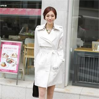 Flap-front Trench Coat With Belt