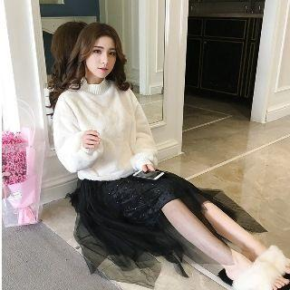Studded Mesh Skirt