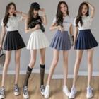 Wrinkle-resistant Inset Shorts Plain Pleated Skirt