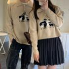 Couple-matching Printed Knit Top