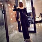 Long-sleeve Plain Maxi Dress