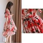 Elbow-sleeve Patterned V-neck Dress