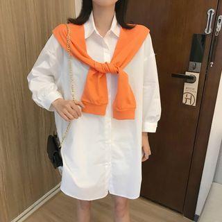 3/4-sleeve Shirt Dress / Scarf