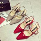 Slingback Pointy-toe Patent Pumps