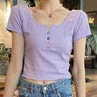 Short-sleeve Cropped Placket Top