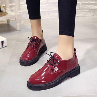 Patent Lace-up Casual Shoes