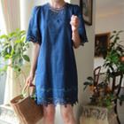 Short-sleeve Lace-trim Shift Dress