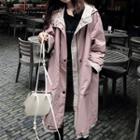 Zip Hooded Long Coat