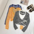 Striped Tie-front Open-knit Cropped Top