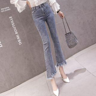 High-waist Fray-hem Boot-cut Cropped Jeans